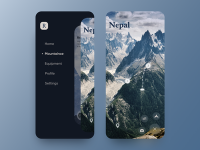 Nepal typography concept hill guide map navigator tourism trips destination hiking mountains icon interface ui ux mobile app mobile product design