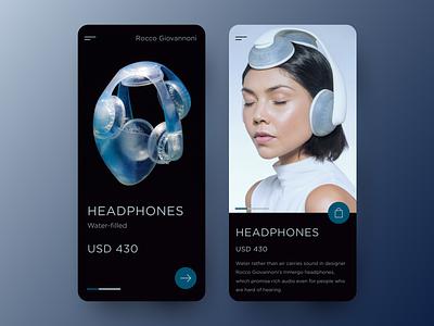 Headphones - Mobile Design mobile design ios application typogaphy store ecommerce shop music digitalart interface interaction app product design mobile ux ui headphones