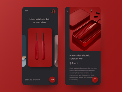 Minimalist Electric Screwdriver interface application ux ui ios app interaction store ecommerce shop product page product design mobile
