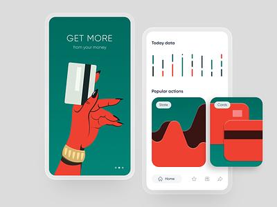 Mobile bank: splash, home. app splash onboarding card credit mobile design illustration finance fintech bank mobile