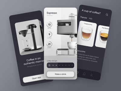 Coffee Machine App [ mobile app ] onboarding devices remote panel control smart internet of things ui mobile iot smart house home automation smart home kitchen appliances mug coffee maker cafe coffee machine coffee cup