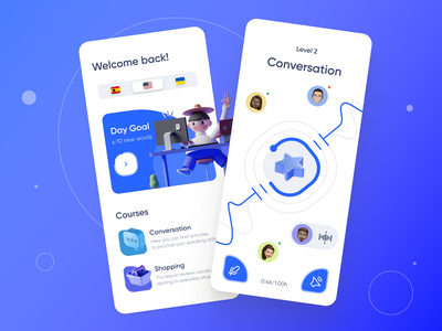 Language learning [ mobile app ] edutech teach lesson homepage feed course school education chat audio study learning language mobile app design mobile ui app design segmented control table home mobile