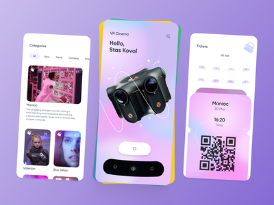VR cinema [ mobile app ] application seats tabs main home play ui booking film vr 3d movie cinema ticket feed categories mobile app mobile