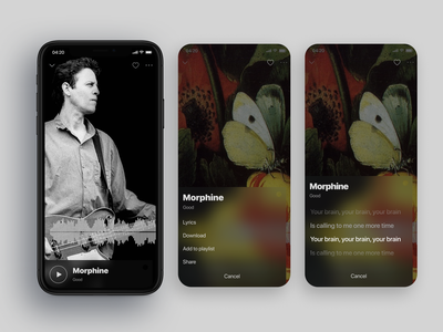 The Music application interaction soft digital musician stream lyrics karaoke record player song lyrics tracks song music player music app mobile product design music