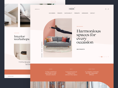 Nook Interiors logo web design website design colour layout grid ux typography ui