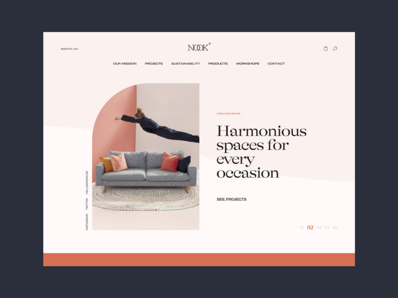 Nook — Details branding web design minimal website design layout grid ux typography ui