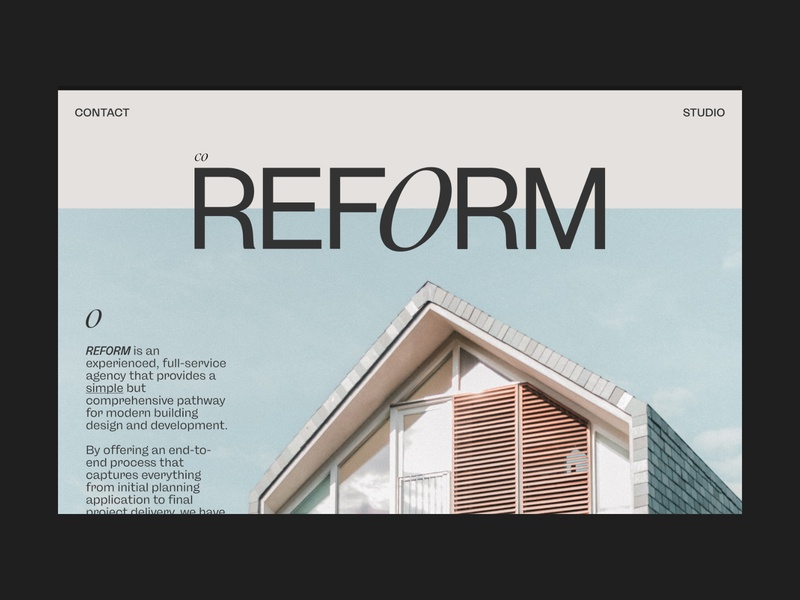 REFORM — Art Direction #1 logotype web design architects identity logo branding photography adobe xd design website colour layout grid ux typography ui