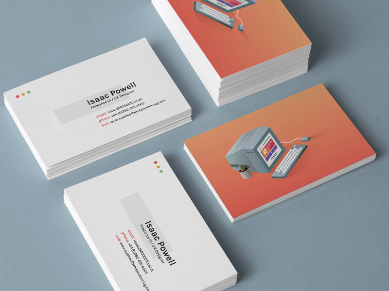 Business Cards personal freelance typography colours branding business cards illustration