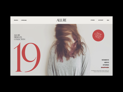 Allure Fashion store ecommerce adobexd animation photography art fashion website contrast layout colour grid ux typography ui