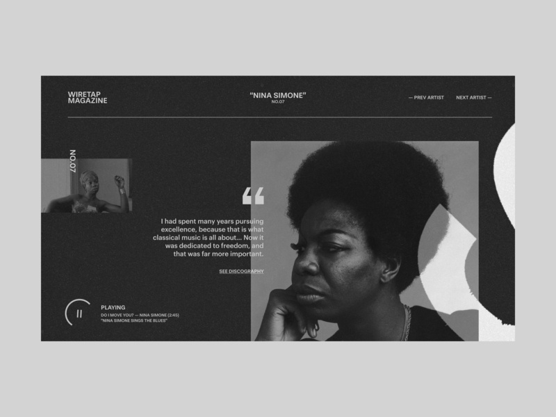 Wiretap #2 - Nina Simone music player web design artist image minimal editorial quote profile music app music geometry website personal design contrast layout grid ux typography ui