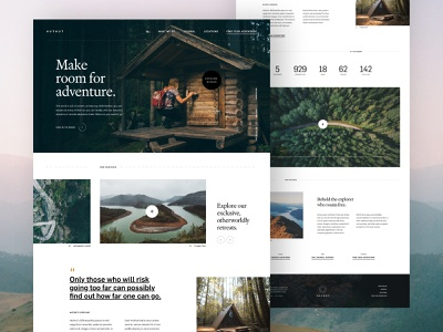 HutHut Adventures #1 - Landing landing editorial video traveling travel adventure vector web design adobe xd photography minimal website design contrast layout colour grid ux typography ui