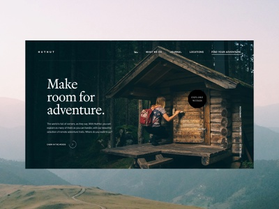 HutHut Adventures #2 - Hero ui typography ux grid colour layout contrast design website minimal photography adobe xd web design vector adventure travel traveling video editorial landing