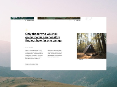 HutHut Adventures #3 - Type quote ui typography ux grid colour layout contrast design website minimal photography adobe xd web design adventure travel traveling editorial landing