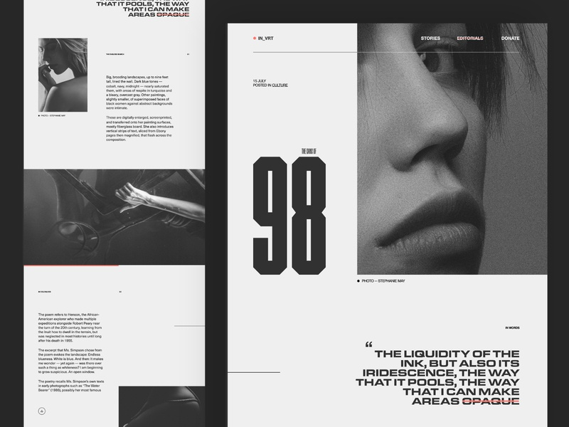 No. 98 monochrome type culture magazine editorial web design photography adobe xd website minimal design contrast layout grid ux typography ui