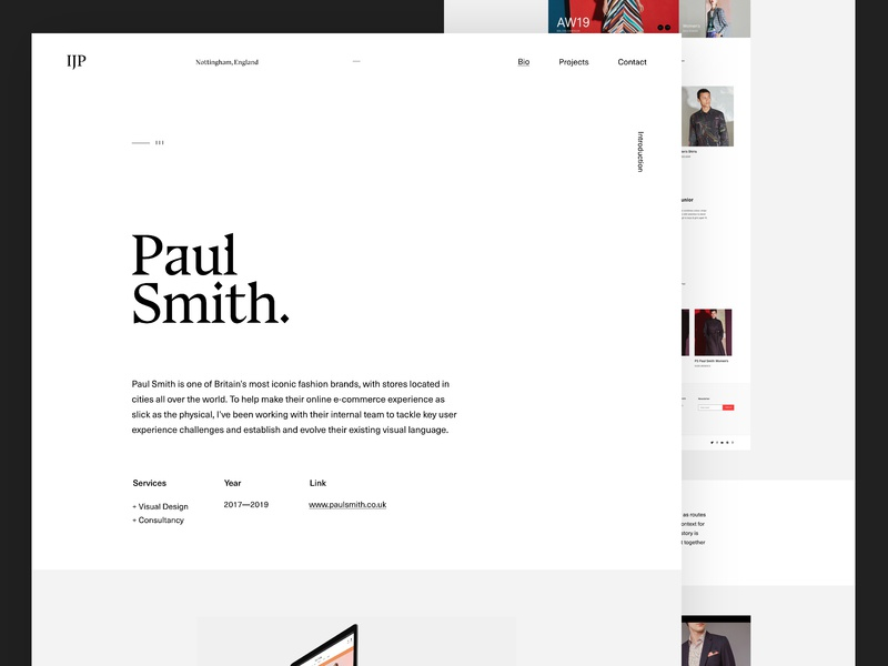Portfolio '19 — Projects clean project minimalistic fashion black and white branding portfolio editorial web design personal adobe xd minimal website design contrast layout grid ux typography ui