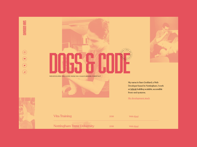 Dogs & Code — Portfolio code developer dogs web design gradient portfolio personal adobe xd minimal website design contrast colour layout grid ux typography ui