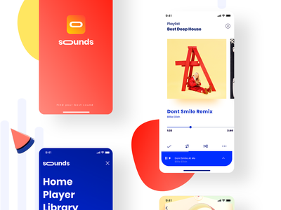 Sounds® musician clean minimal app design ux music player music interface app design ui