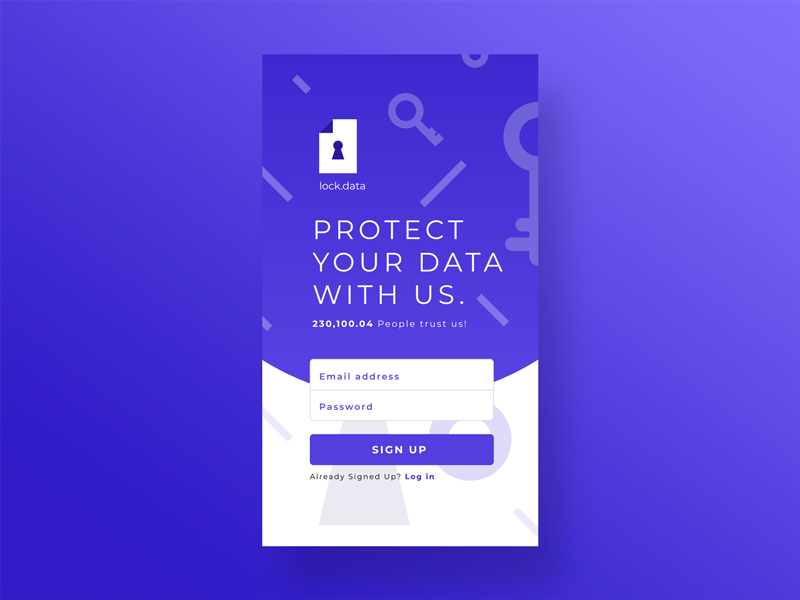 Sign Up Screen - 001 Day daily 100 challenge dailyui illustraion figmadesign lock protect product data ui ux signup mobile interface interaction graphic  design design app design