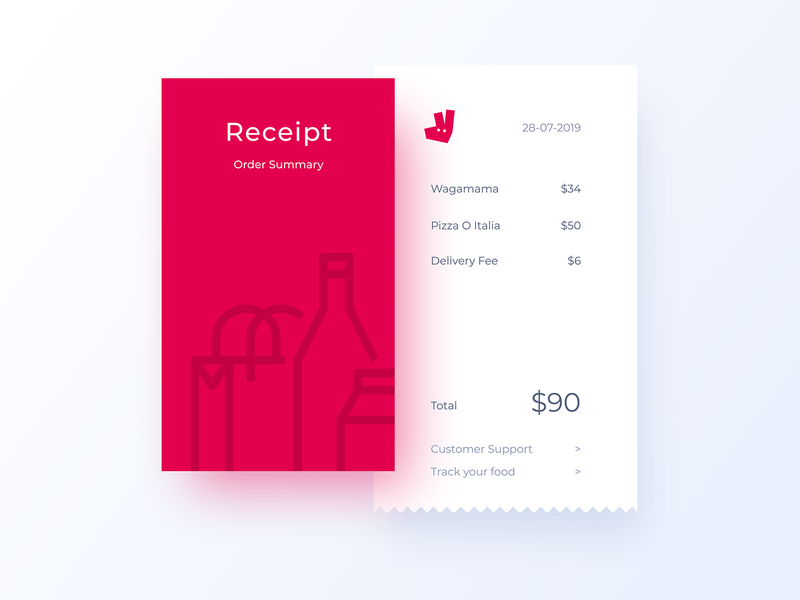 Email Receipt - 017 email receipt website page grid ux icon minimal logo flat branding typography web deliveroo email dailyui app app design interface design ui