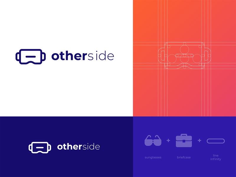 Otherside - Logo Design glasses flat figmadesign vector icon typogaphy illustration design visual gear logo design logo identity design identity lettering custom branding virtualreality virtual reality vr