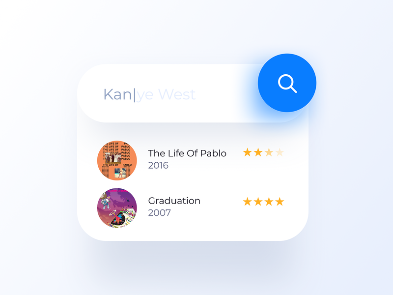022 Search searching search icon rap flat app design interface design ux ui mobile dailyui figma kanyewest west kanye music app music songs app
