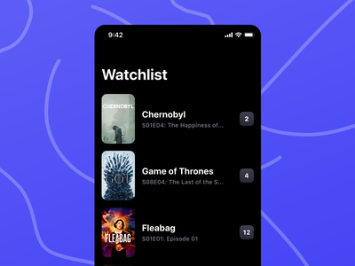 Watchlist tv show tv app mobile ui mobile app mobile product design ios