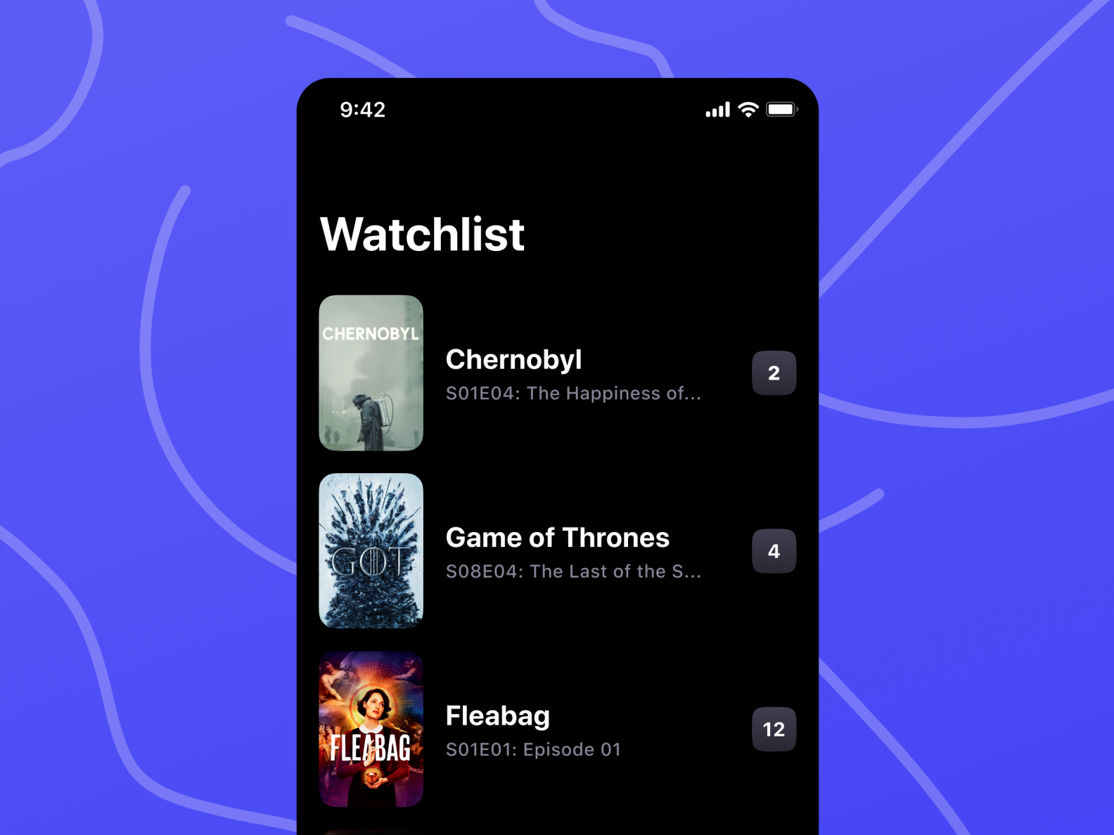 An embed embed post from my Dribbble account with the name Watchlist