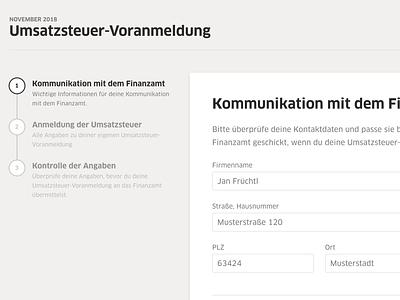 Advance VAT Return -  Step 1 form webapp clean layout grid ux application design web design web ui