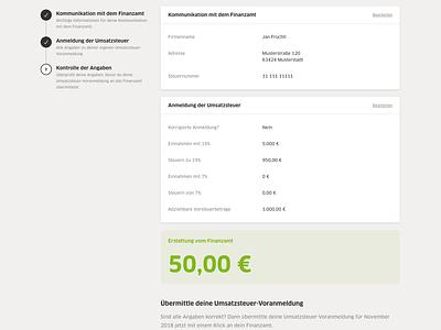 Advance VAT Return -  Step 3 ui web web design design application ux grid layout clean webapp form