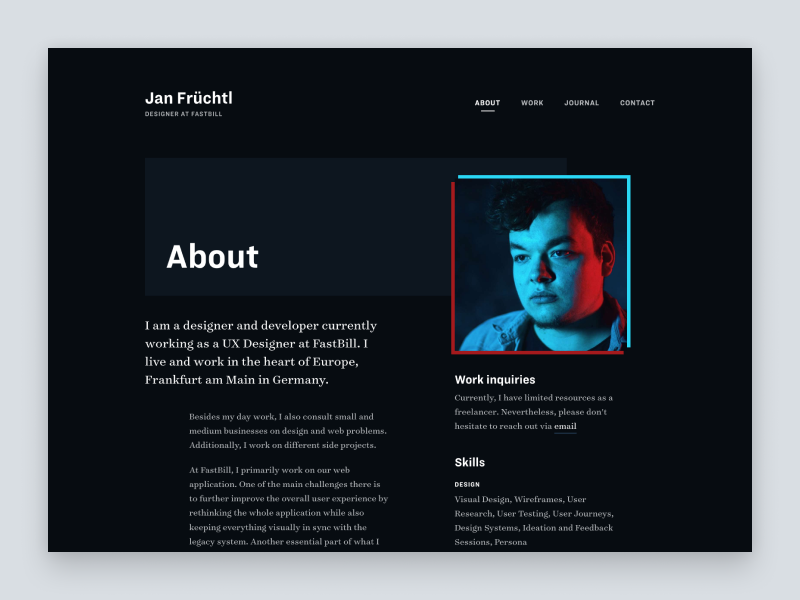 An embed embed post from my Dribbble account with the name Portfolio 2019 - About