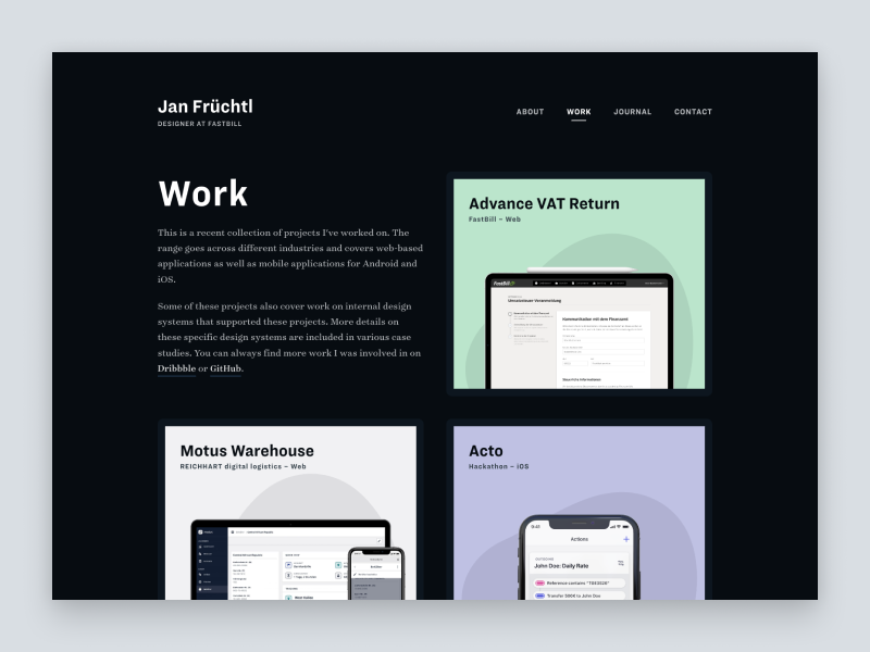 An embed embed post from my Dribbble account with the name Portfolio   Work