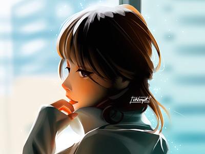 Back anime girl character girl drawings art character cute illustration