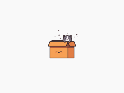 Cat in the Box white black old carton pussy kitty character cute illustration cat box