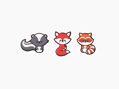 Skunk - Fox - Racoon black orange red character forest animal cute vector illustration racoon fox skunk