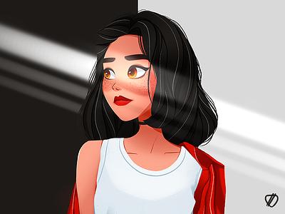 🍦 icecream sunshine red black white procreate ipadpro drawings art girl character girl character cute illustration