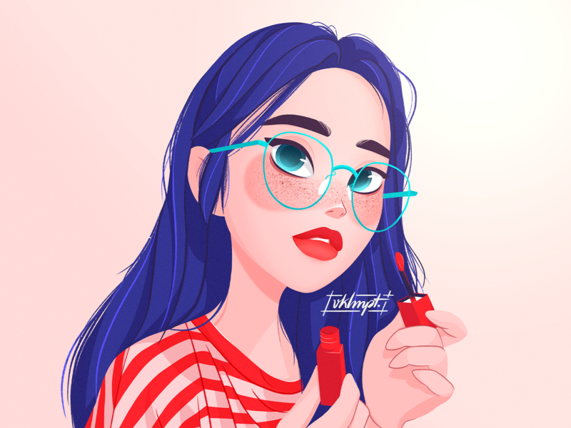 💄 glasses red lipstick summer drawings girl character art procreate ipadpro girl character cute illustration