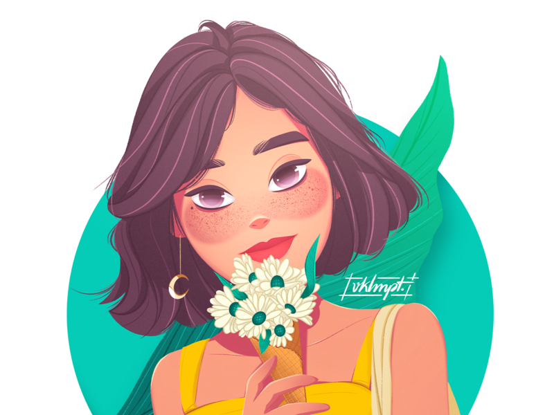 🌼 earrings sunshine flowers yellow drawings girl character art procreate ipadpro girl character cute illustration
