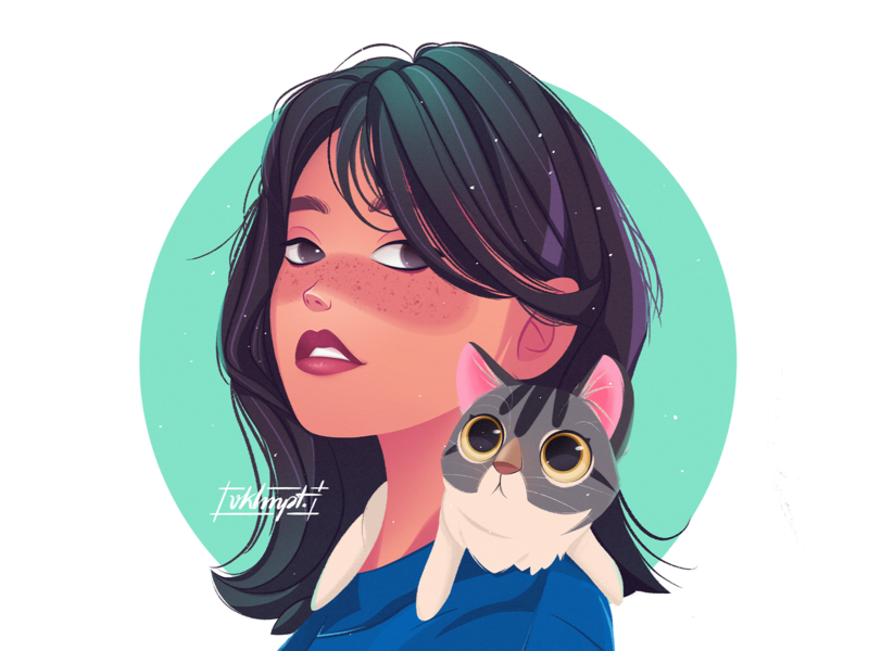 🐱 cat drawings art procreate ipadpro girl character girl character cute illustration