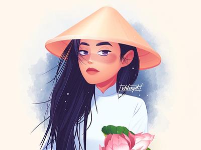 Ao dai dress tradition vietnamese vietnam aodai drawings procreate ipadpro girl character girl art character cute illustration