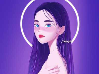 🌙 moon aurora dark girl character girl drawings procreate ipadpro art character cute illustration