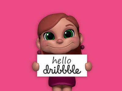 Hello dribbble! character 3d