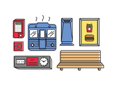 Budapest M3 subway line - Icon set