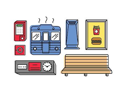 Budapest M3 subway line - Icon set social realism public transport city icon design graphic design line icon subway