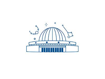 Budapest Planetarium night sky stars space planetarium archi love architecture building city line icon