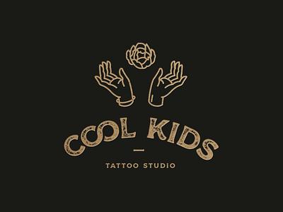 Cool Kids Tattoo Logo art nouveau art deco hands hand illustration line luxury logo luxury floral vintage logo inked ink tattoo studio graphicdesign gold branding tattoo artist tattoo logo design logo