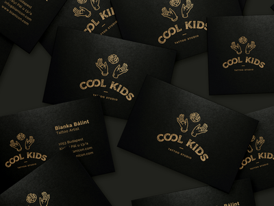 Cool Kids Business Cards inked tattoo artist tattoo studio tattoo floral black and gold identity design hands type art deco luxury brand luxury business card brand design identity typography branding logo illustration graphic design