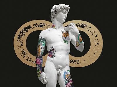 Cool Kids Tattoo - Social Media Image luxury renaissance blackandgold identity design art direction visual identity brand design tattoo studio tattoo statue sculpture michelangelo david monument art history art branding design graphic design