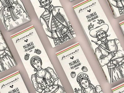 Passionate - Packaging Design souvenir fruit hungary hungarian box design graphic design vector line illustration character design character packaging sesign packaging food packaging beverage palinka food sweets chocolate