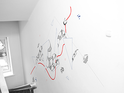 office branding white and black blue lines stairs wall branding abstract triangles tentacles office