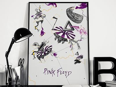Pink Floyd purple collage floyd pink